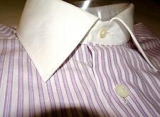 NEW $450 ERMENEGILDO ZEGNA DRESS SHIRT 17.5 36 44EU white collar pink Stripe z46