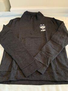 New Victoria's Secret PINK UCONN Sequin Grey Quarter Zip Sweatshirt Size Large