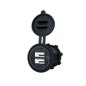 Car Lighter Socket Dual USB Ports Fast Charger Power Adapter With Wire Terminal