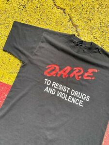 VTG 90s DARE Resist Drugs and Violence New Jersey Double Graphic Shirt USA S/M