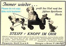 Steiff Knopf im Ohr Reklame von 1927 Hund Pferd Ente Bär Immer wieder Werbung ad