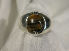 Men's 12x10mm Tiger Eye Ring Sz 10