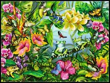 Find the Frogs - DIY Chart Counted Cross Stitch Patterns Needlework 14 ct Aida