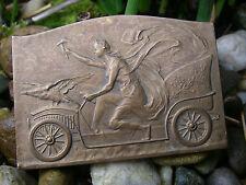 very nice female Automobile Car Badge around 1910 - plaque signed JULES BAETES