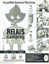 PUBLICITE ADVERTISING 076  1962   Relais camping  bouteille gaz Michel Boyenval