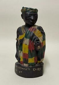 An Ashanti Chief in State Costume - Carved African Hand-Coloured Figure