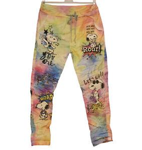 made in Italy: Stretch-Hose Joggpants Regenbogenfarben Snoopy 36 - 42