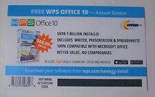 WPS Office 10 - 1 PC, 1 Year License Key Card - NEW