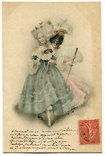 CPA - Carte Postale - Thème - Illustrateur - 2 Femme en Costume - Belle Robe