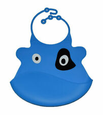 Blue Cow Bib Hook Waterproof Baby Toddler Dribble Bibs Soft & Foldable Silicone
