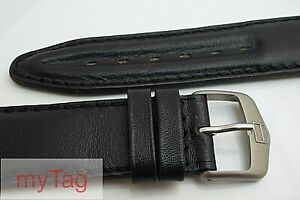 Genuine TAG Heuer Mens Cushioned Black Leather  Strap with  Tang Buckle 19mm