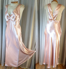 NWT Long Satin Large Nightgown Gown L Lady Gold  Woman L 12 Sleep Dress Gill