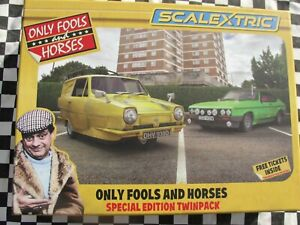SCALEXTRIC ONLY FOOLS  AND HORSES TWIN PACK CAPRI/RELIANT ROBIN LATEST 1.32 SLOT