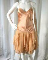 Max Studio Womens Dress Silk Stretch Chiffon Layered Ruffle Peach Size 2