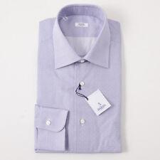 NWT $350 BARBA NAPOLI Blue and Red Jacquard Print Cotton Dress Shirt 17 x 37