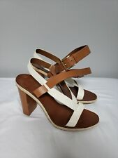 799f0940c9c Tory Burch Women s Leather Straps Sandals Ivory Size 9.5 Block Stacked Heel