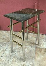"22"" Modern Accent Side Table Chrome Brass Dark Vein Marble Honed Top"