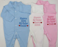 Personalised Happy Birthday Daddy Mummy Nanny Baby Grow Sleep Suit Blue Pink