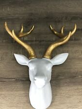 Quirky Stylish Modern Wall Mount Deer White Gold Collectors Item New Designer OZ