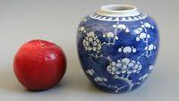 Antique Chinese prunus blue and white porcelain ginger jar Kangxi double ring