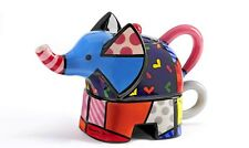 Romero Britto Full Size Ceramic Elephant  Tea For One Teapot New Design 12.3 oz