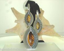 Solid 925 Silver Genuine Baltic Sea Marquise Honey Amber Pendant Earrings Set #1