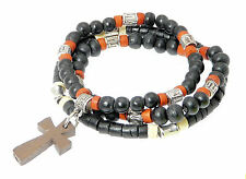 Set of 3 Coco Heishi Wood Beads Surfer Elasticated Bracelets Cross Crucifix a