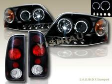 8/1997-2003 FORD F-150 PROJECTOR HEADLIGHTS BLACK TWIN HALO LED & TAIL LIGHTS