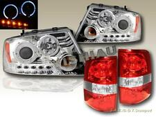 2004-08 FORD F150 DUAL HALO CHROME PROJECTOR HEADLIGHTS LED+ RED/CLR TAIL LIGHTS