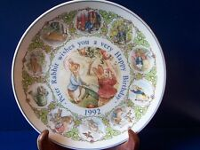 Wedgwood Peter Rabbit Dated Happy Birthday Plate 1992 England Beatrix Potter