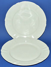 "Antique GDA Limoges Plates 2 White Embossed Raised Design 10"" French Haviland"