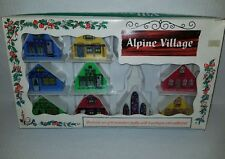 Vintage alpine village plastic light up houses in original box