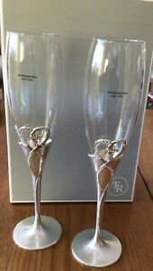 Champagne Flutes Silver w/ Embellished Heart n Gold Cross NEW! Things Remembered