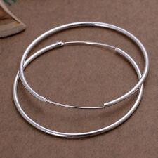 Fashion Women Silver Round Big Large Circle Hoop Huggie Loop Earrings Jelwery