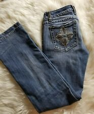 MISS ME womens Jeans Size 29 bootcut JP5004 Rhinestone details-D01