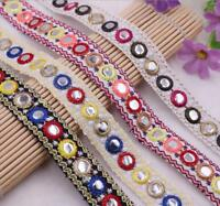 1 Yards Mirror Jacquard Embroidered Lace Trim Ribbon Clothing Home Curtain Decor