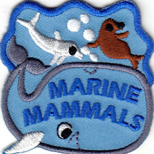 """""""MARINE MAMMALS"""" - OCEAN - WHALE - DOLPHIN- Iron On  Embroidered Patch"""