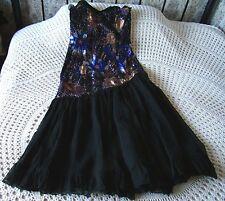 Black Sheer Parti robe de cocktail par ECLIPSE Taille 8 - 10 Multi Métallique Parure