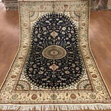 Yilong 5'x8' Medium Size Handknotted Persian Silk Carpet Blue Area Rug WY372C