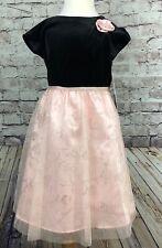 Jona Michelle Girls Dress Black Velvety TopBlush Glitter Floral Tulle Size 8
