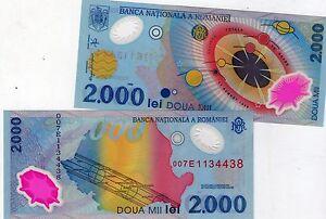 BANCONOTA DI PLASTICA ROMANIA 2000 ASTRONAUTICA,SPAZIO, FDS!!! BELLISSIMA