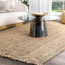 Rectangle Area Rag Natural Loop Jute Rag Rug Woven Fabric Floor Rug 2x2 Feet