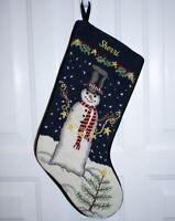 """Lands End Snowman w/ Garland Needlepoint Wool Stocking Monogram """"Sherri"""""""