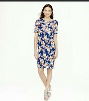 J Crew Blue Antique Floral Silk Keyhole Neck Shift Dress Size 4 Tall $188