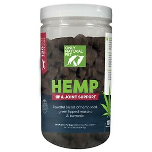 Only Natural Pet HEMP HIP & JOINT SUPPORT SOFT DOG CHEWS SEALED 120 COUNT!