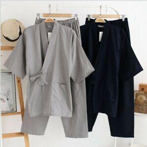 Japanese style kimono pajamas and hanfu men's cotton trousers home service