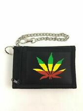 """Marijuana Pot Leaf Weed Trifold Wallet With 12"""" Removable Chain Rasta"""