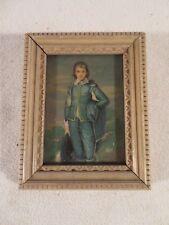 "Vintage Miniature Small Framed Print Boy Blue Approx. 5"" x 4"" ~ Gainsborough"