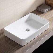 White Rectangle Bathroom Sink Bowl Vessel Basin w/Pop Up Drain Porcelain Ceramic
