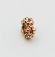 "Genuine Pandora 14ct. Gold Charm ""Ruby Flower Spacer""  - 750436RU - retired"